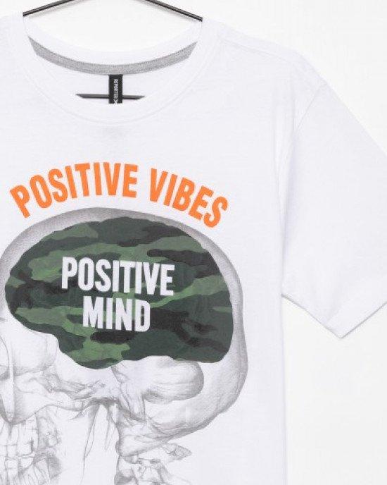 """Футболка белого цвета с принтом """"Positive vibes"""""""