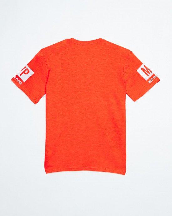 Футболка оранжевая в принт