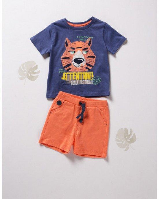 Комплект (шорты + футболка) сине - оранжевого цвета
