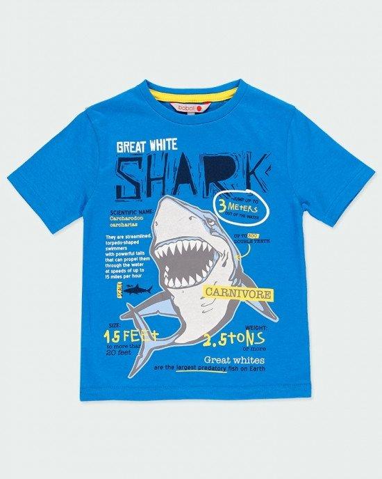 """Футболка синего цвета с принтом """"акула"""""""
