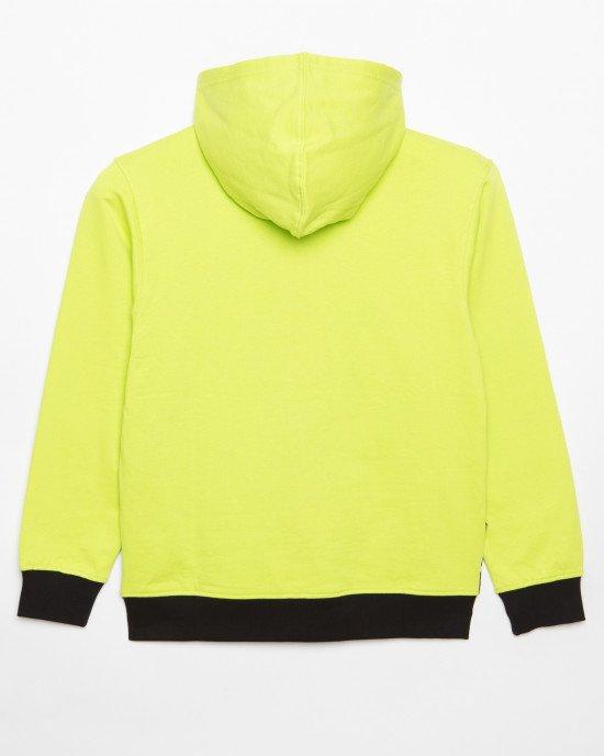 Толстовка цвета лимона с черно-белыми карманами