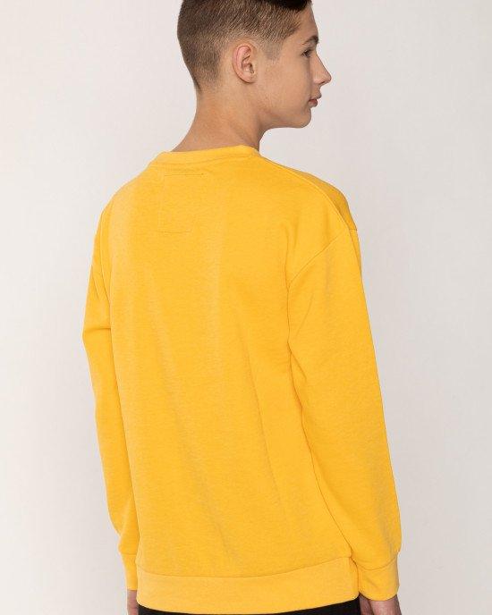 Свитшот утепленный желтого цвета с черными буквами
