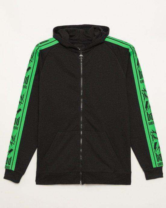 Толстовка черного цвета с ярко зелеными акцентами