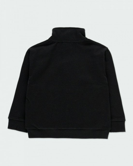 Толстовка утепленная, с высокой горловиной, черного цвета