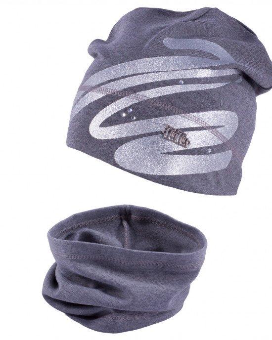 Комплект (шапка + бафф) серого цвета в серебристый принт