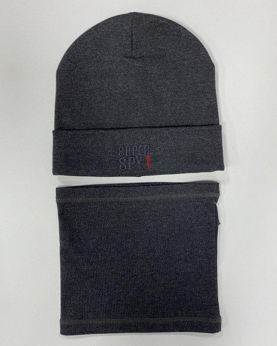 Комплект (шапка + бафф) графитового цвета из двойной хлопковой ткани