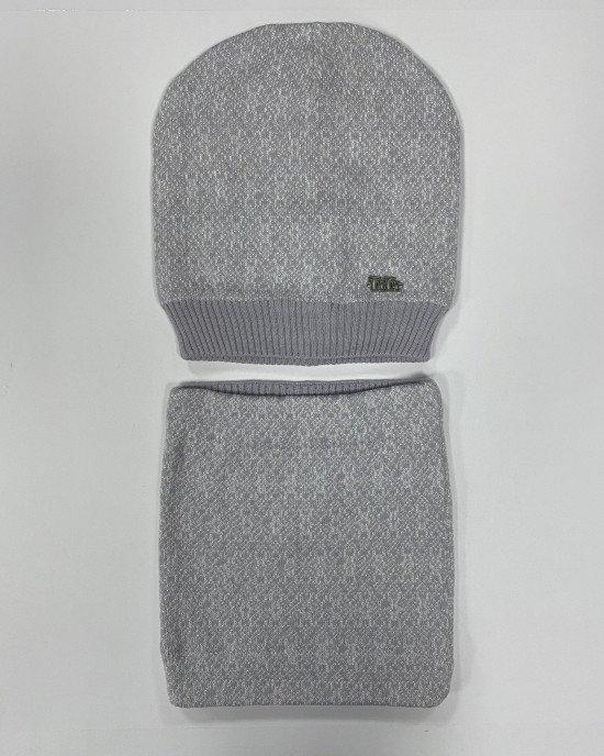 Комплект (шапка + бафф) серого цвета с люрексом