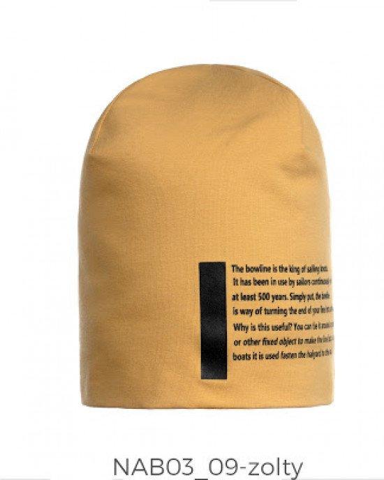 Шапка желтого цвета с текстовым принтом