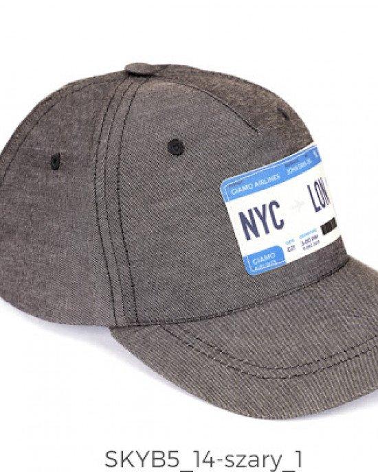 """Кепка серого цвета спереди с аппликацией """"NYC - LON"""""""