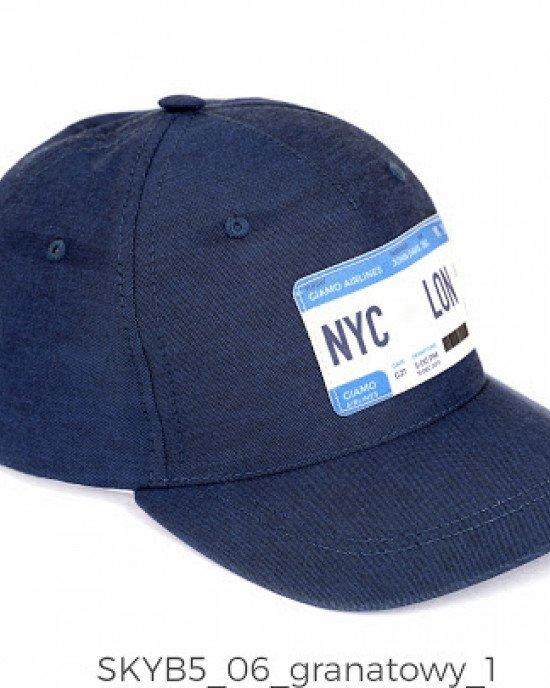 """Кепка синего цвета спереди с аппликацией """"NYC - LON"""""""